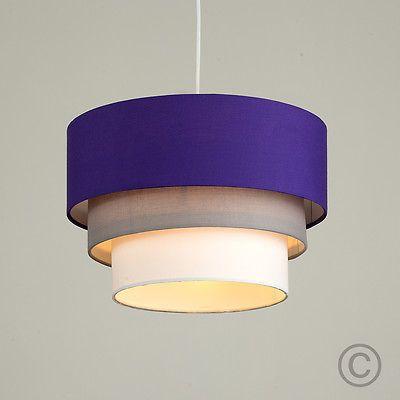 Modern 3 tier purple grey white ceiling pendant light lamp shade lampshade new