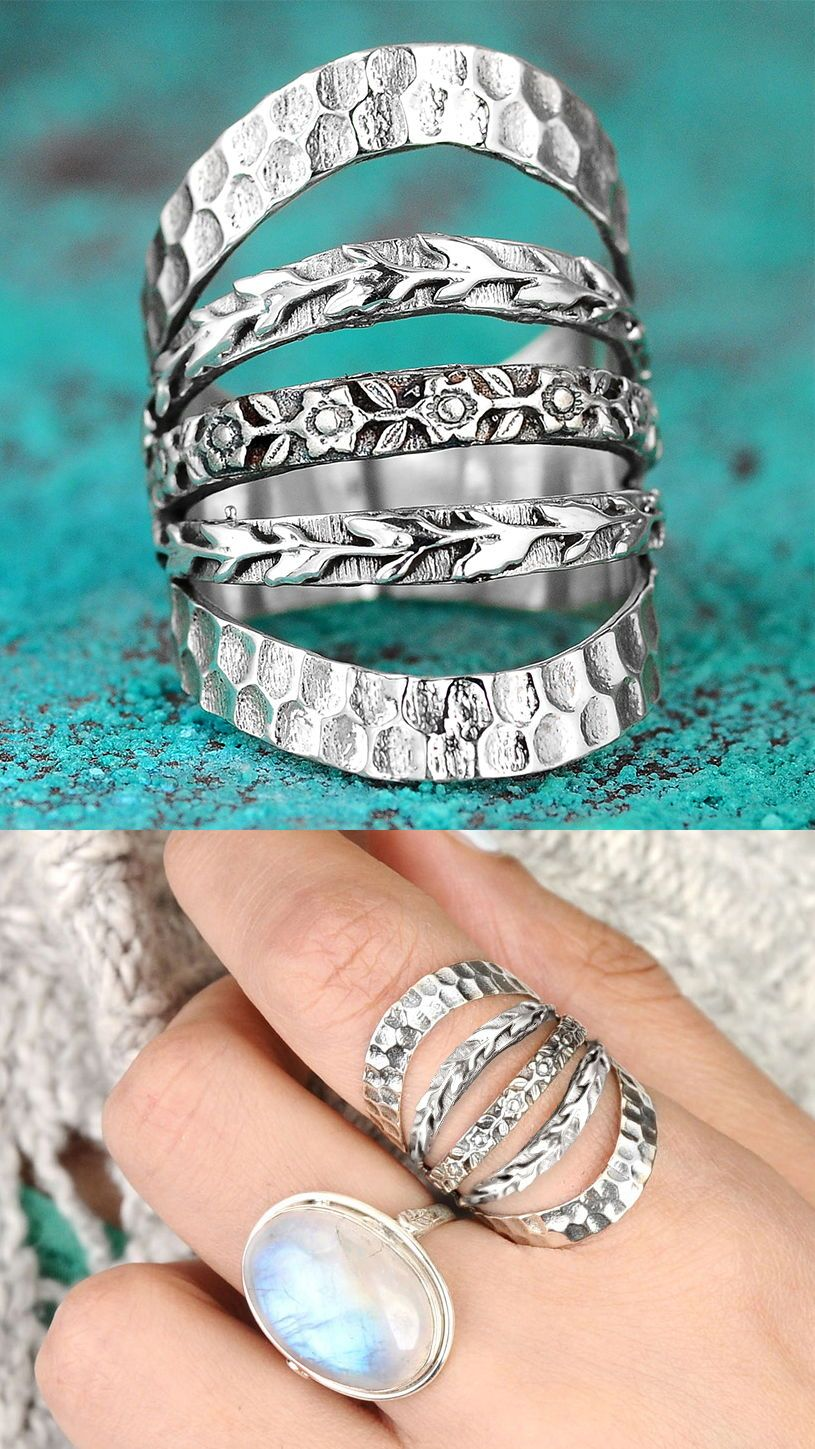 Chunky silver ring wide big women large statement rings for boho adjustable unique