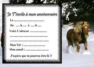 Carte Invitation Anniversaire Cheval 4 13 5 82 50 8 Votes
