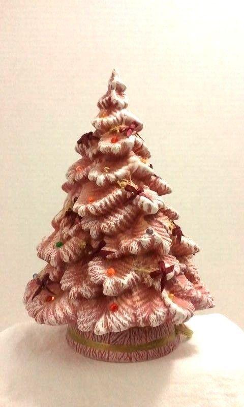 Ceramic Christmas Tree Lovely Unique Base Light Red Pink White