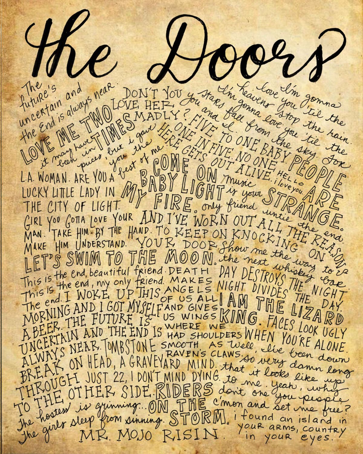 The Doors Lyrics And Quotes 8x10 Handdrawn And Handlettered Etsy Classic Rock Lyrics Lyrics Quotes