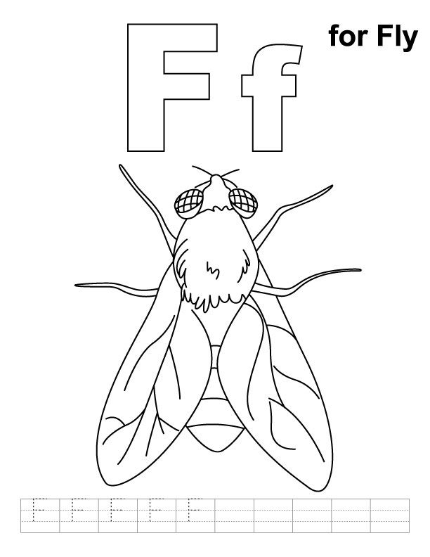 F For Fly Coloring Page With Handwriting Practice Download Free