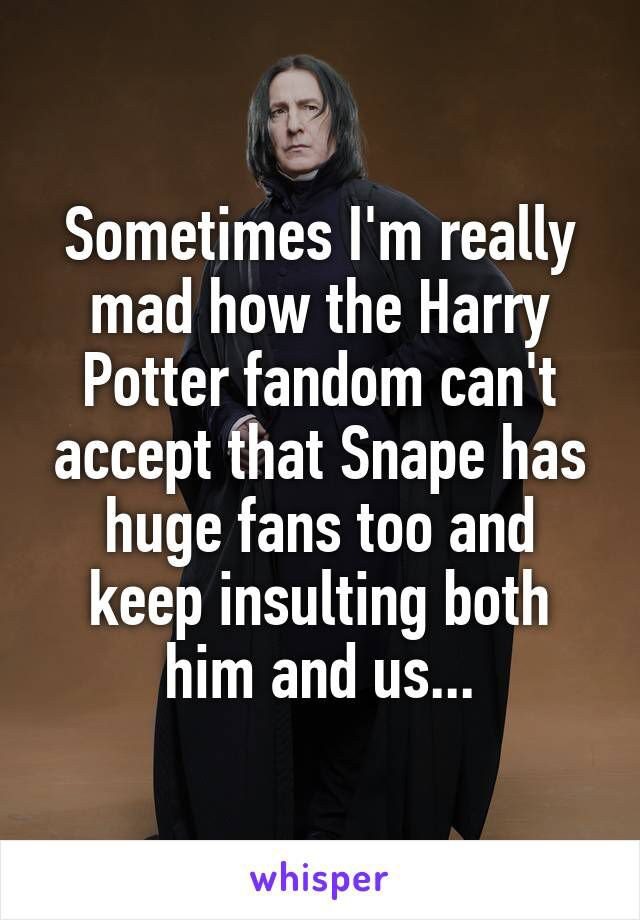 It Seems Like Such A Trivial Thing But It S Part Of The Reason Why I Left The Online Hp Fandom That And The Snape Harry Potter Harry Potter Universal Snape