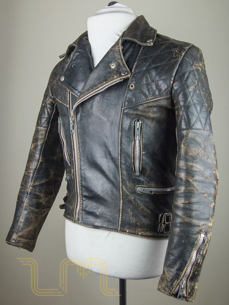 vintage motorcycle city leather biker jacket with patina
