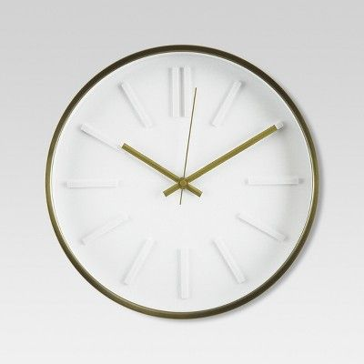 "raised marker 13"" wall clock white/brass - project 62™ : target"