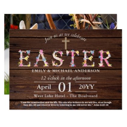 Rustic EASTER Invitations Religious - ADD PHOTO - script gifts - easter invitations template