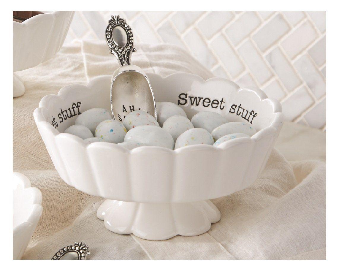 Amazon.com: Mud Pie 4881012S Candy Dish Set Sweet Stuff, White ...