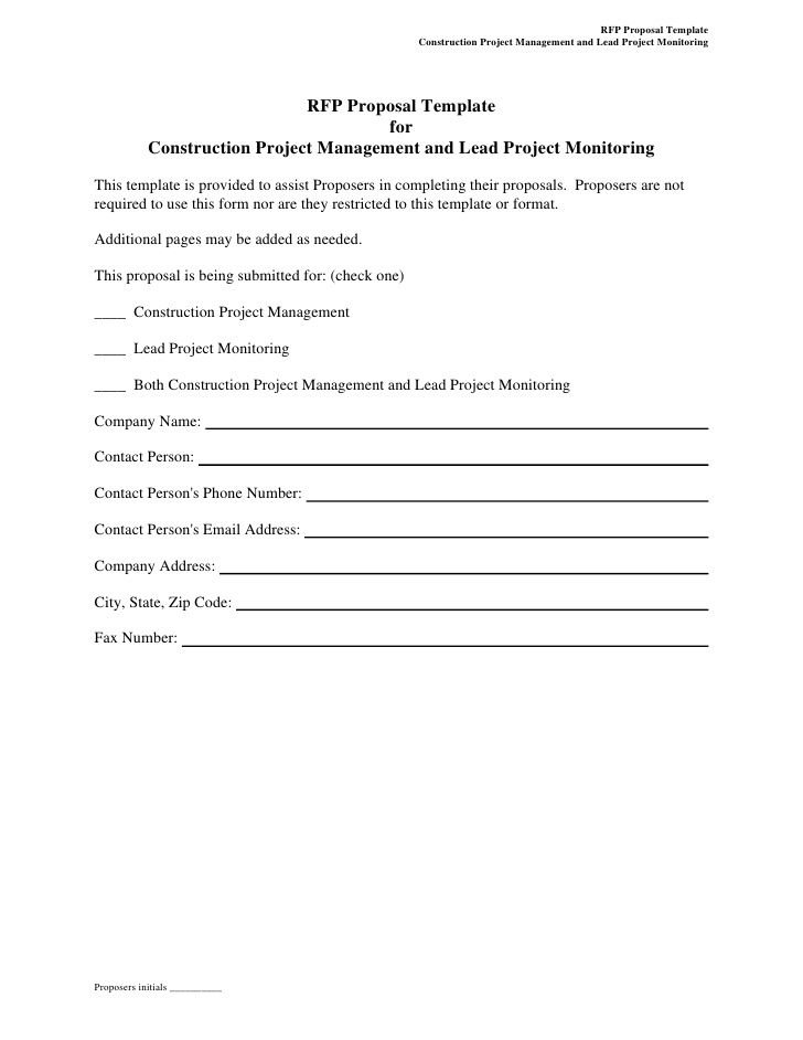 Printable Sample Construction Proposal Template Form Real Estate - construction proposal template word