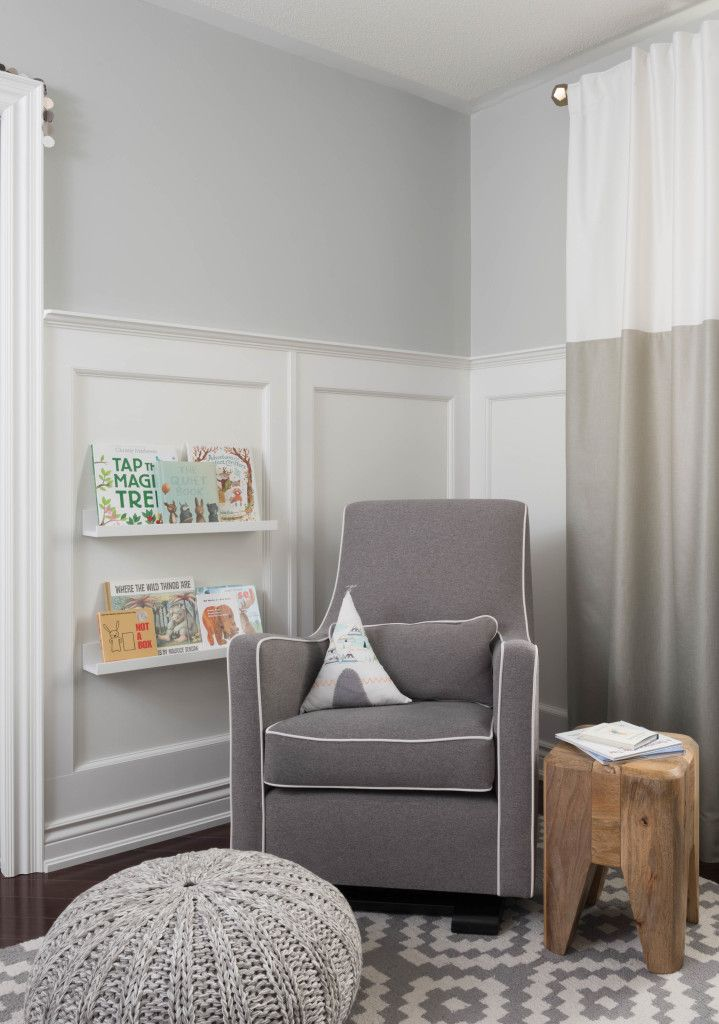 Project Nursery Woodland Glider Grey White Boho Wainscoting Tee Bookstorage Contemporary Colourblocked Children Kids