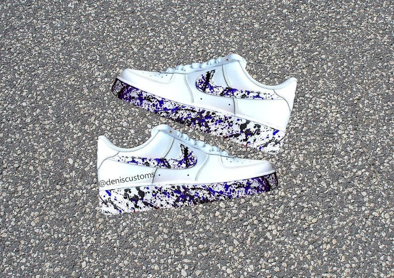 Nike Air Force 1 Low with Blue Black Splatter Drip Design in