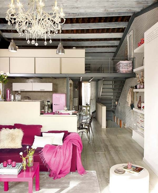 A fan of the #pop of fuchsia, luv the different materials used - metal