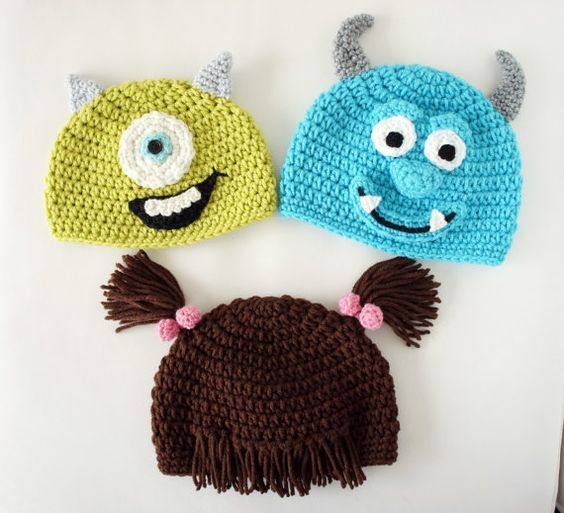6d7eb253d Gorros tejidos personajes para niños