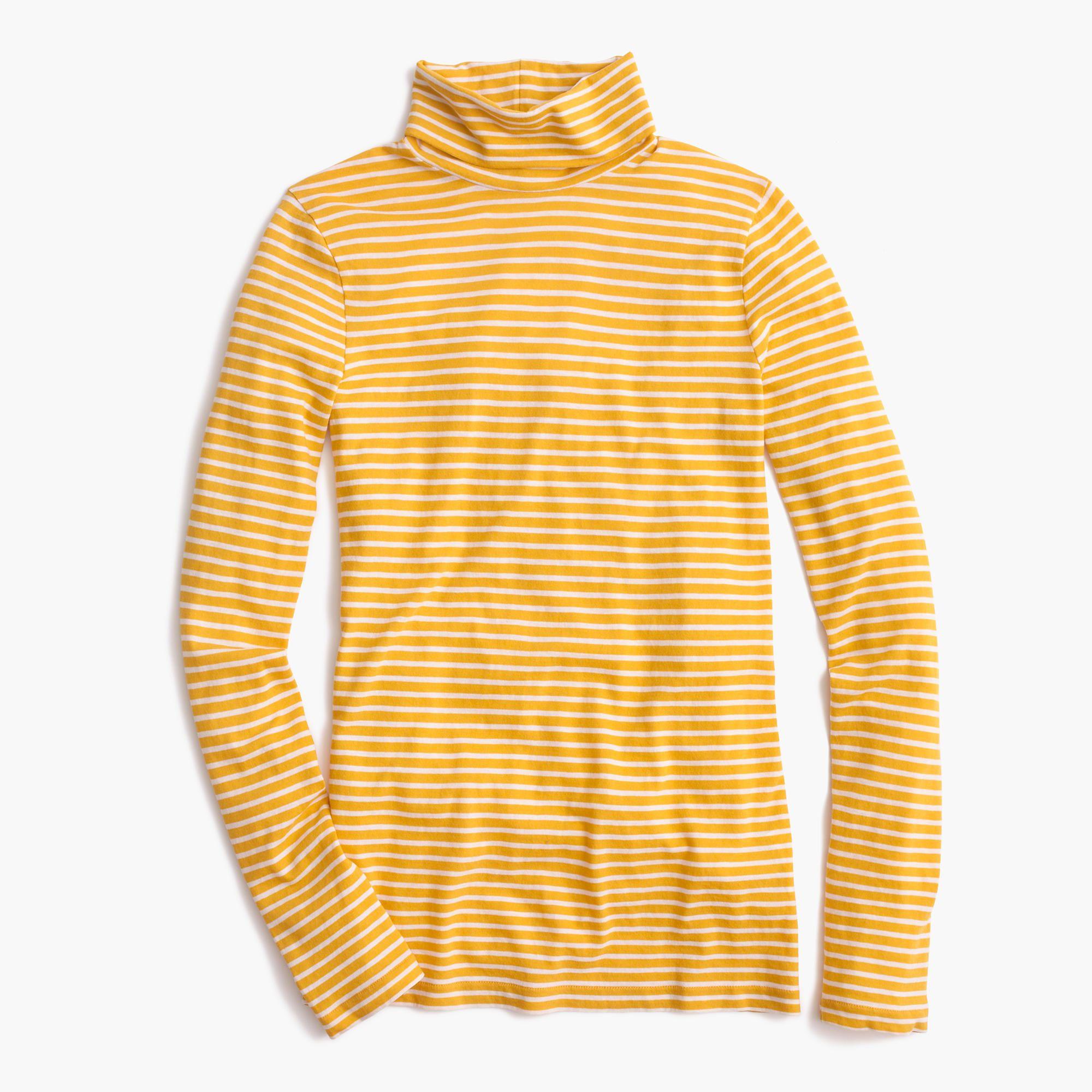 4e74f814d2 Tissue turtleneck T-shirt in light mustard ivory stripe | J.Crew - $39.50