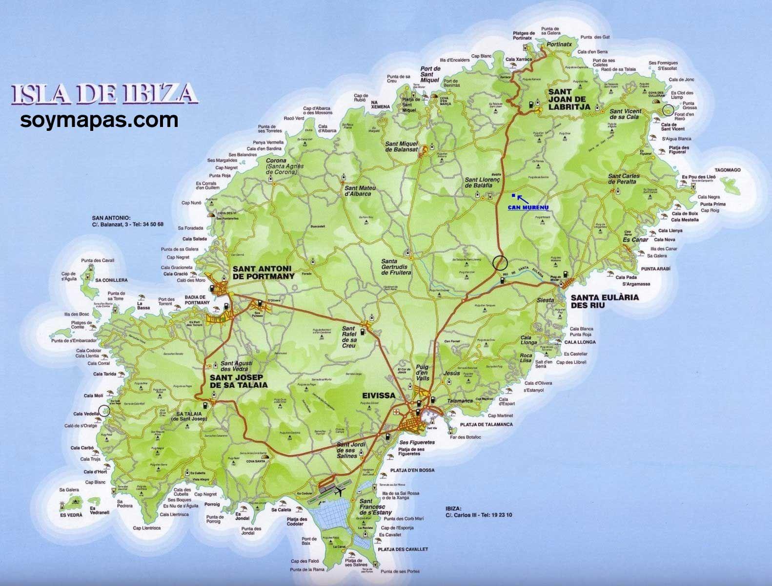 Mapa De Ibiza Calas.Mapa De Todas Las Calas De Ibiza Buscar Con Google Ibiza Isla Mapa De Ibiza Ibiza