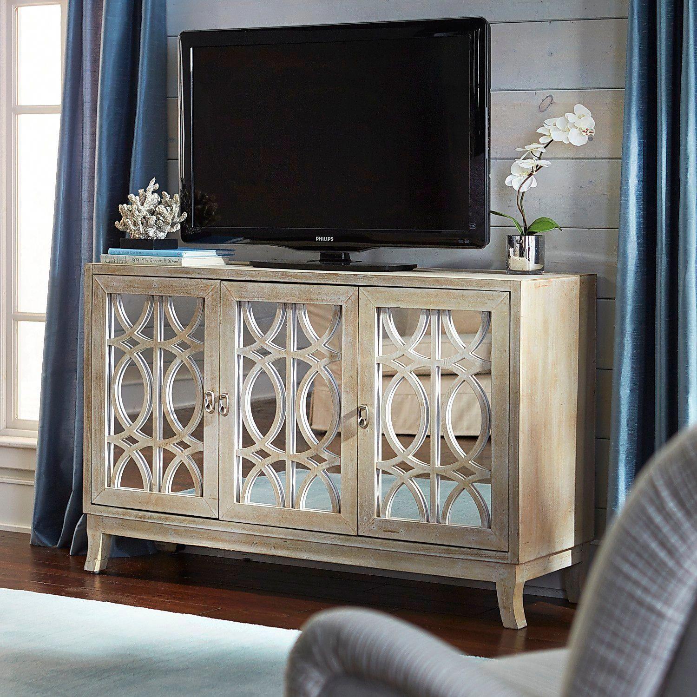 Mirella Mirrored Natural 54 Tv Stand Pier 1 Imports Livingroomfurnituretable Mirrored Furniture Tv Stand Furniture Mirror Tv Stand