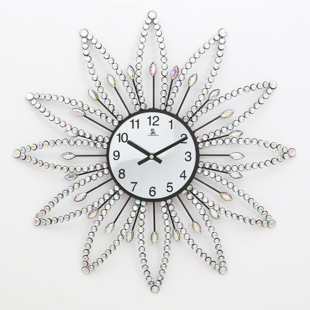 Diamante wall clock 50cm modern beaded jewelled silver metal diamante wall clock 50cm modern beaded jewelled silver metal luxury flower large amipublicfo Image collections