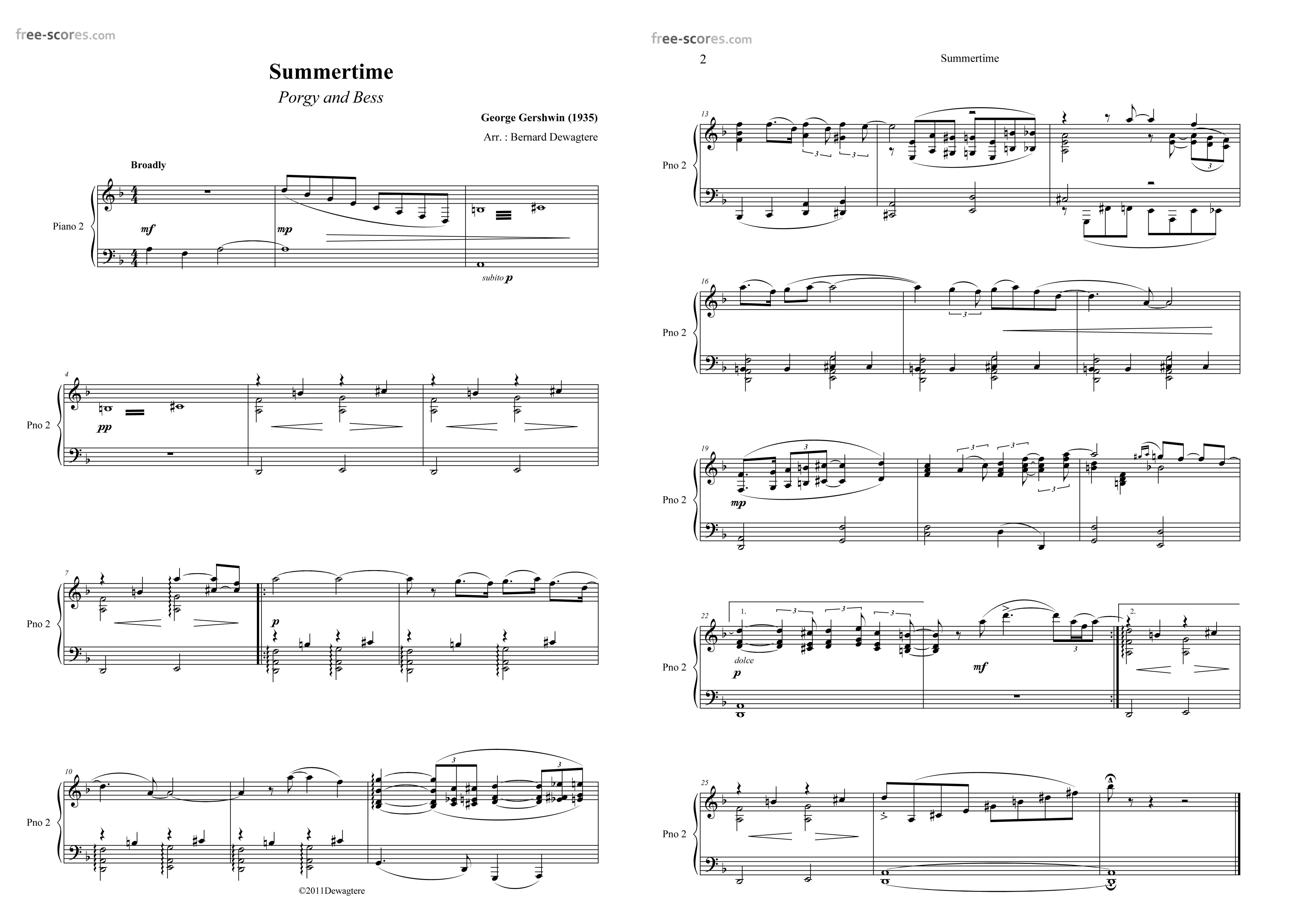 Summertime George Gershwin Credit Free Scores Com Gershwin
