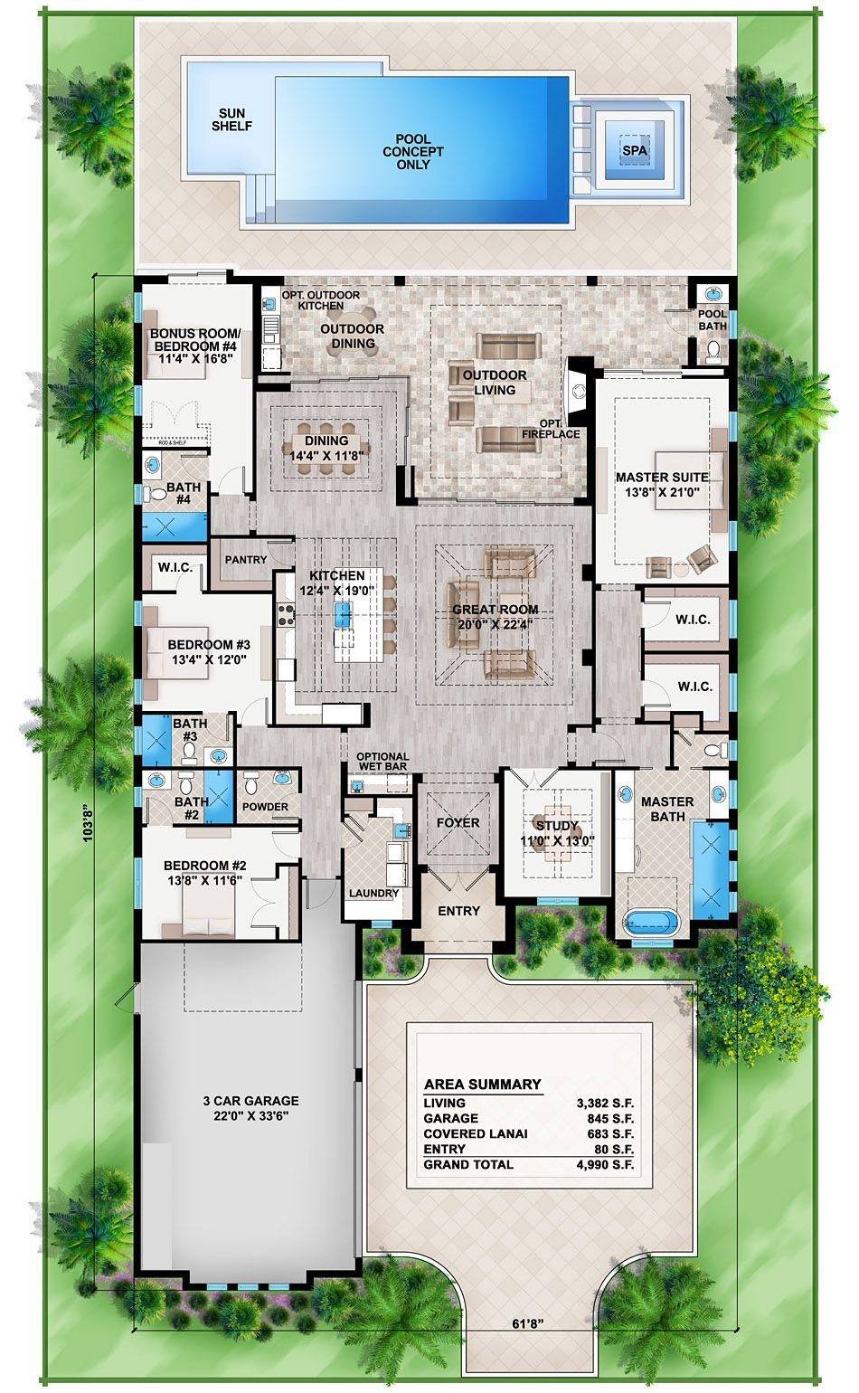 House Plan 575 00027 Mediterranean Plan 3 119 Square Feet 4 Bedrooms 3 Bathrooms Florida House Plans Contemporary House Plans Modern House Plans