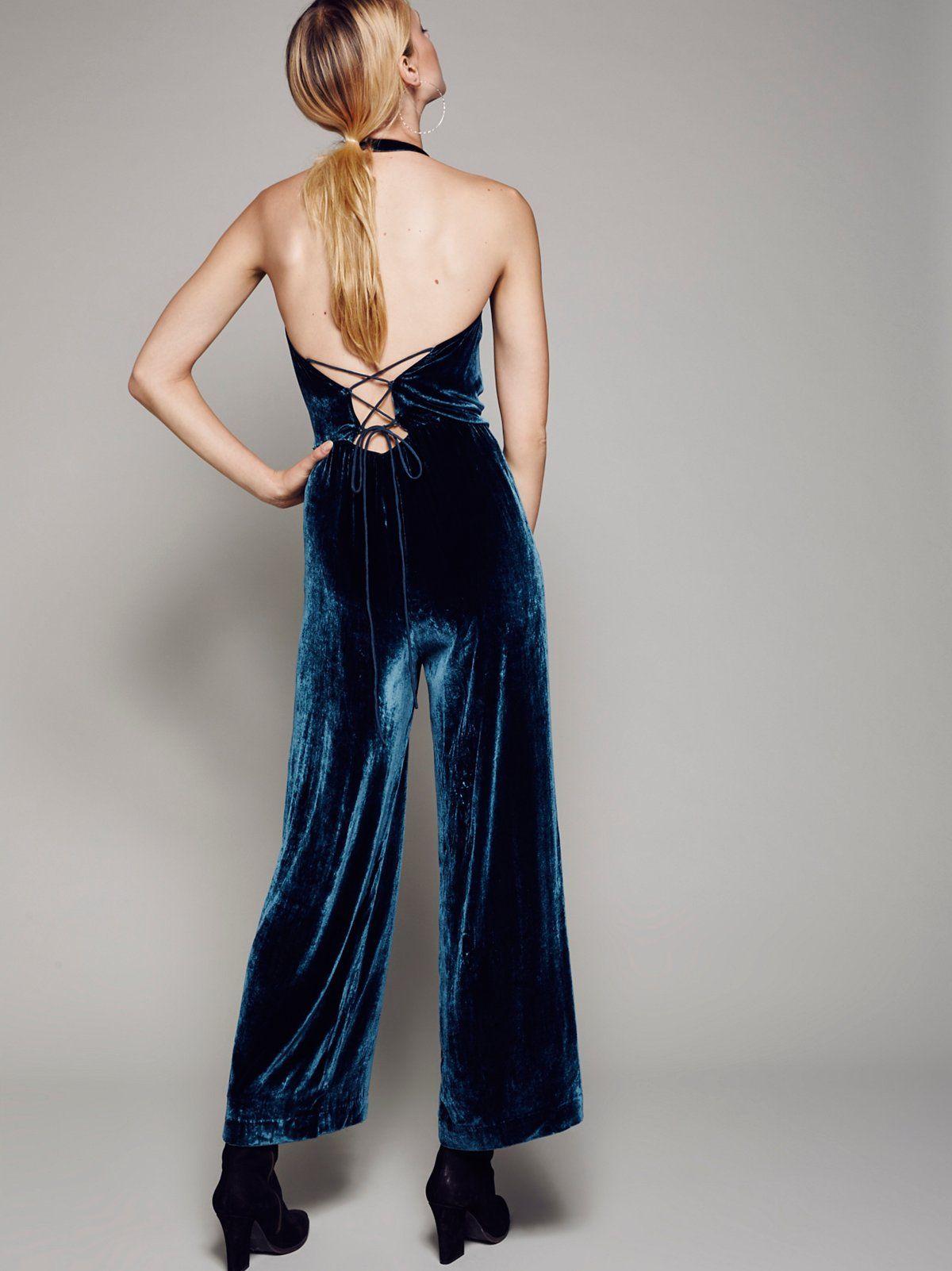 58869ab1532 FP Rumpled Velvet Silk Retro Halter Romper (Blue)