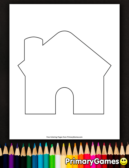 Blank Gingerbread House Coloring Page • FREE Printable