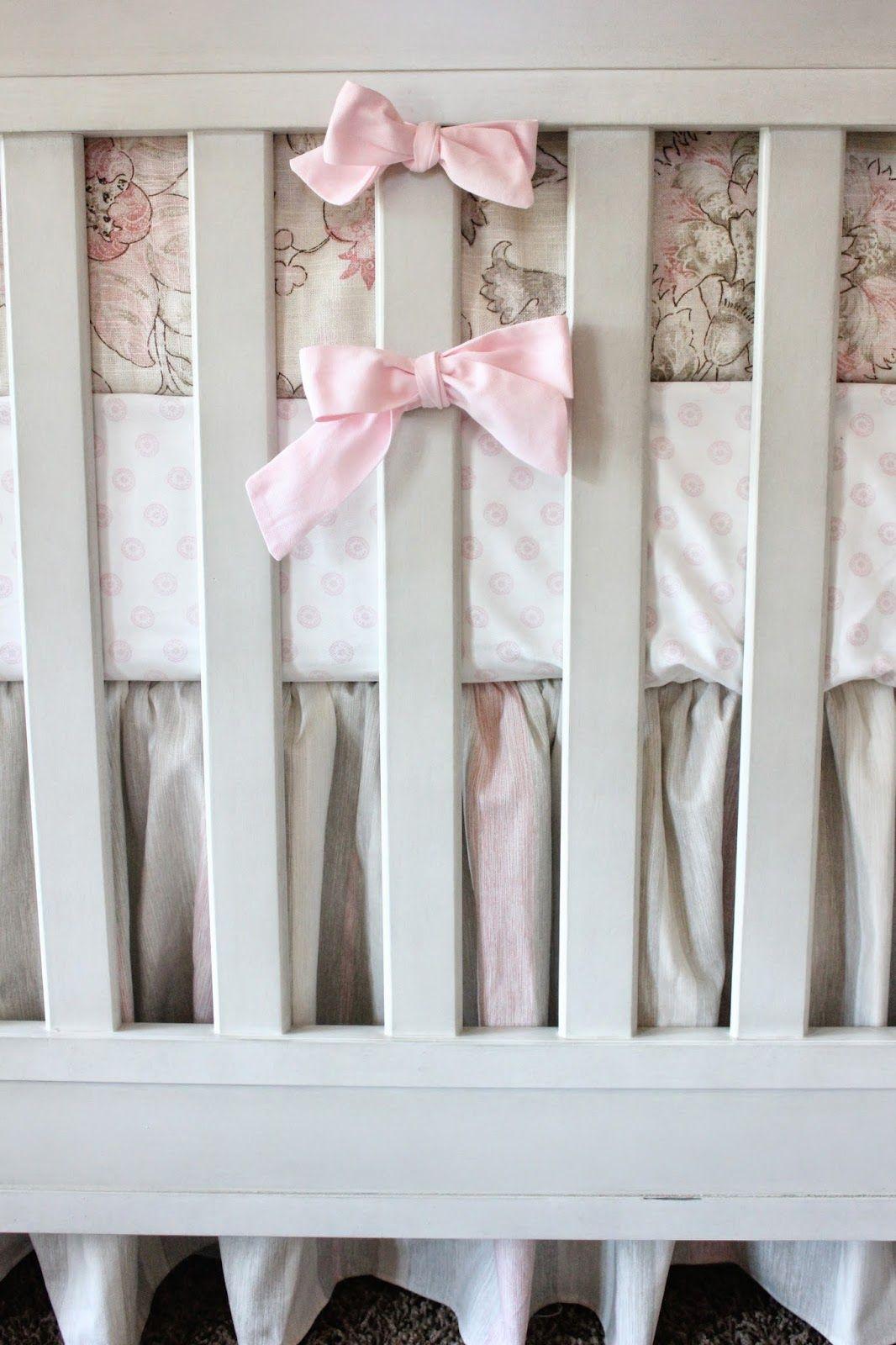 Pink Tan And Cream Crib Bedding