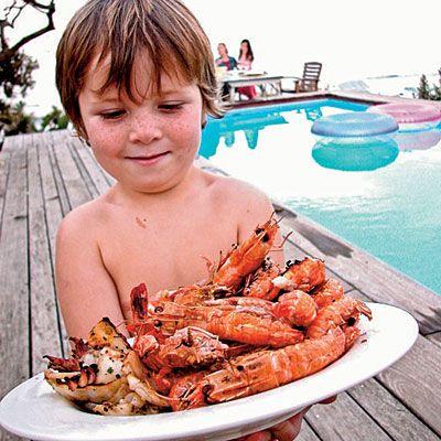 Grilled Red-Chile Calamari and Prawns | Coastalliving.com