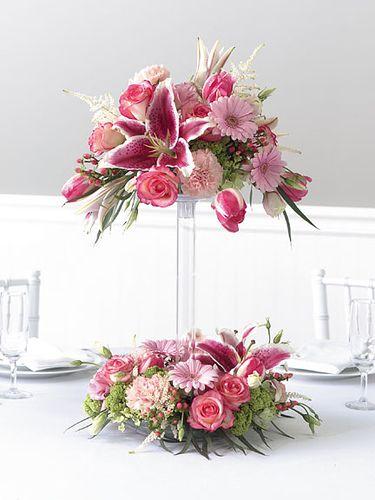 Centro De Mesa Torre Pink Todo Con Flores Centros De