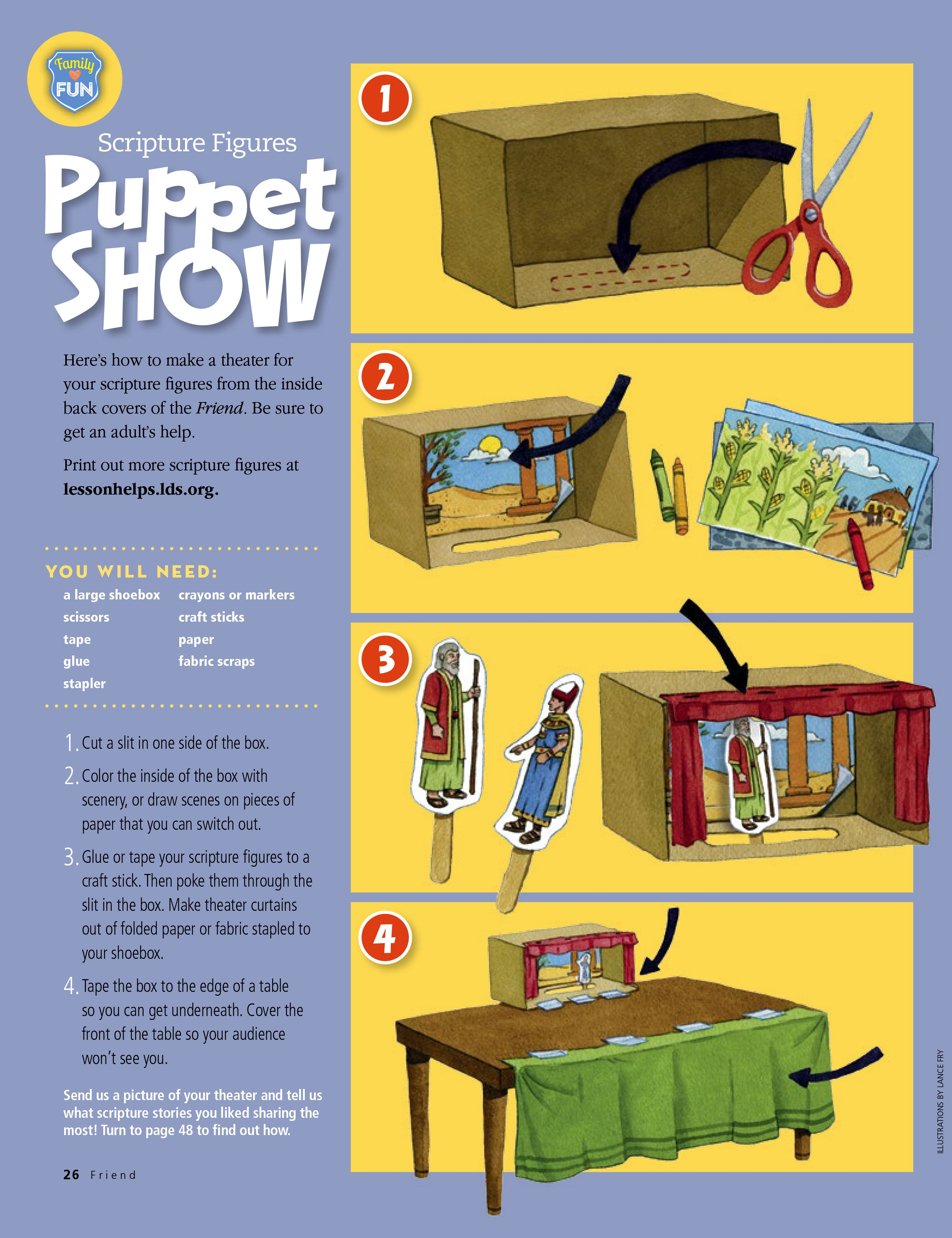 FHE or Primary Activity idea Scripture Figures Puppet Show