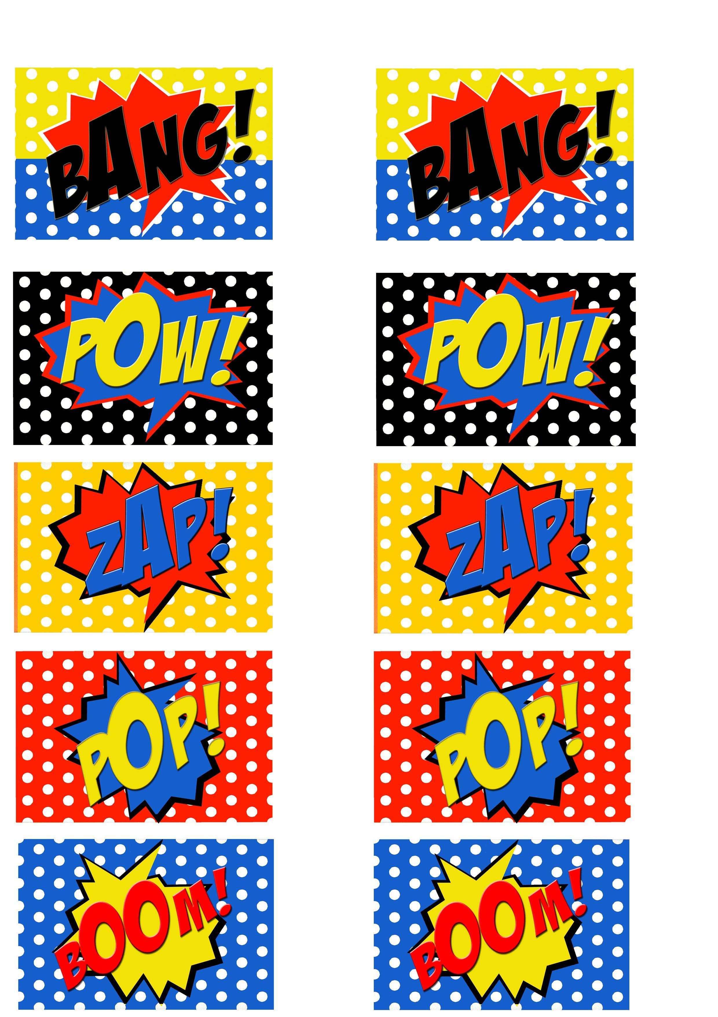 Free Printable Comic Book Word Cut Outs Wonder Woman Birthday Party Superhero