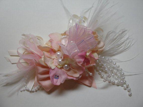 Unique Wedding Ivory Lace Cream Peach Pink Bridal by HareBizBows