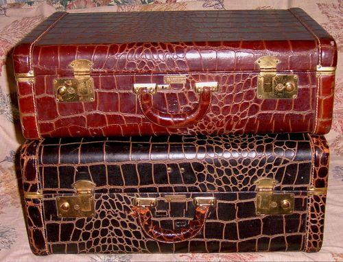 2 Vintage Globetrotter New York Alligator/Crocodile Etc Suitcases ...