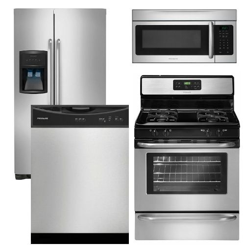 4 piece stainless steel kitchen package back splashes 16 frigidaire appliance with top mount refrigerator gas