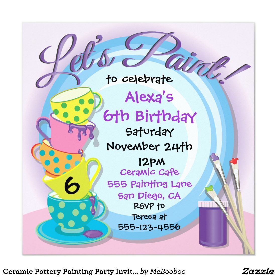 Ceramic Pottery Painting Party Invitations | Party invitations ...