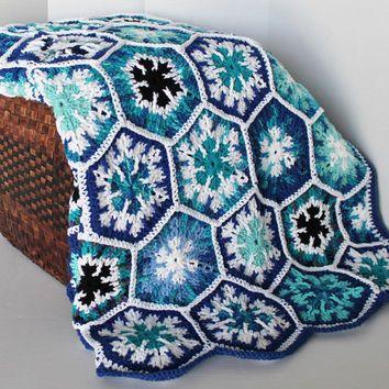 Afghan Handmade Snowflake Hexagon Crochet Blanket Full Size