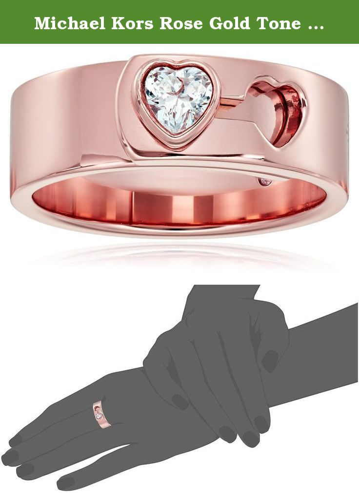 Michael Kors Rose Gold Tone Heart Lock Ring Size 7 Wear Your