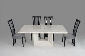 7 Piece Mozart Modern White Marble Dining Table Set By Vig