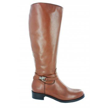 Fitzpatricks shoes Caltha Italian leather riding boot with a full length zip up the inside of the leg and silver buckle detail on the side. Available in black, brown and tan.