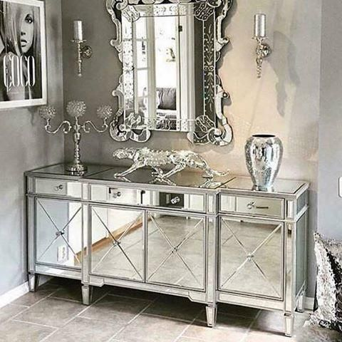 Classic Mirror Regency Cabinet With Silver Trim   Mirrored Furniture    Sparkle Diamond   House Of