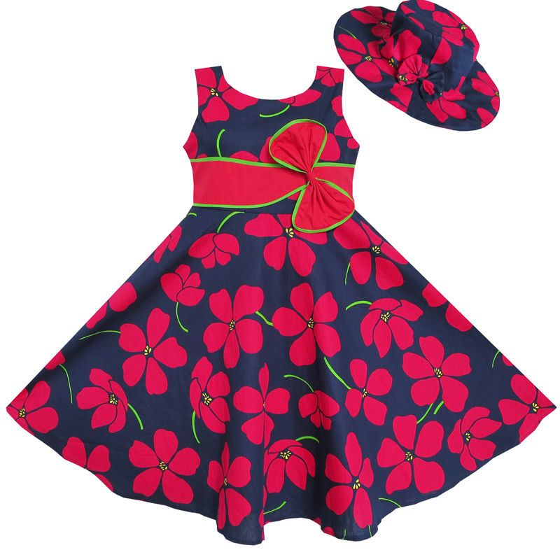 Toddler Kids Baby Girls Dot Print Floral Princess Dress+Hat Cap Clothes Outfits
