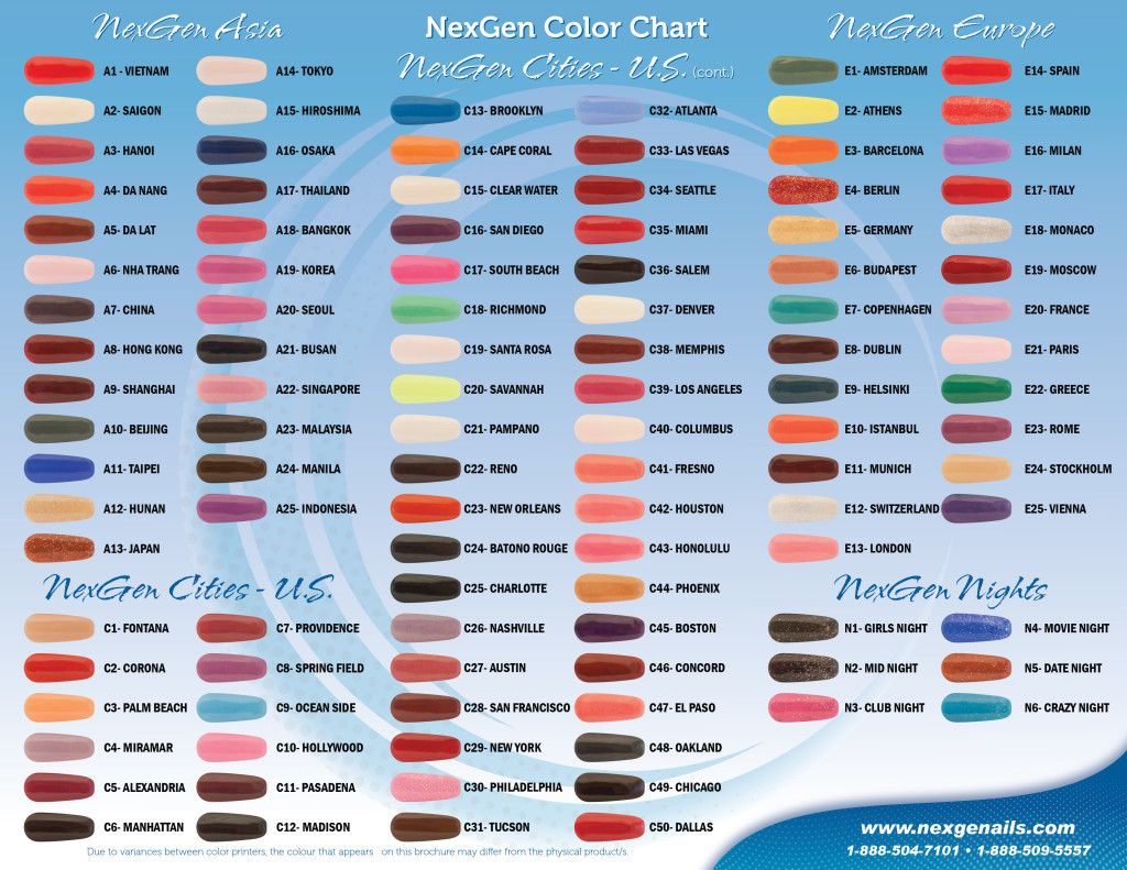 Color Chart Nexgen Nails Nextgen Nail Colors Nexgen Nails Colors