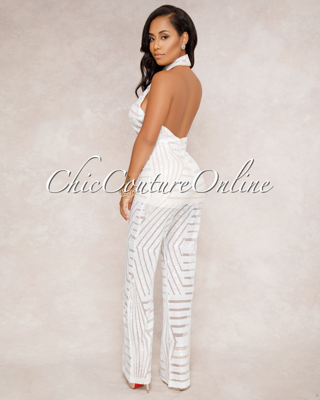 1fe779108e02 Chic Couture Online - Payoff White Sequins Nude Illusion Halter Jumpsuit