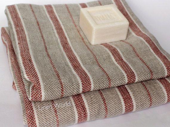 100 Linen Bath Towel Linen Beach Towe Grey Red Striped Natural Lithuanian Flax Linen Travel Towel Sheets Organic Gym Pool Towel Linen Bath Towels Natural Linen Fabric Towel