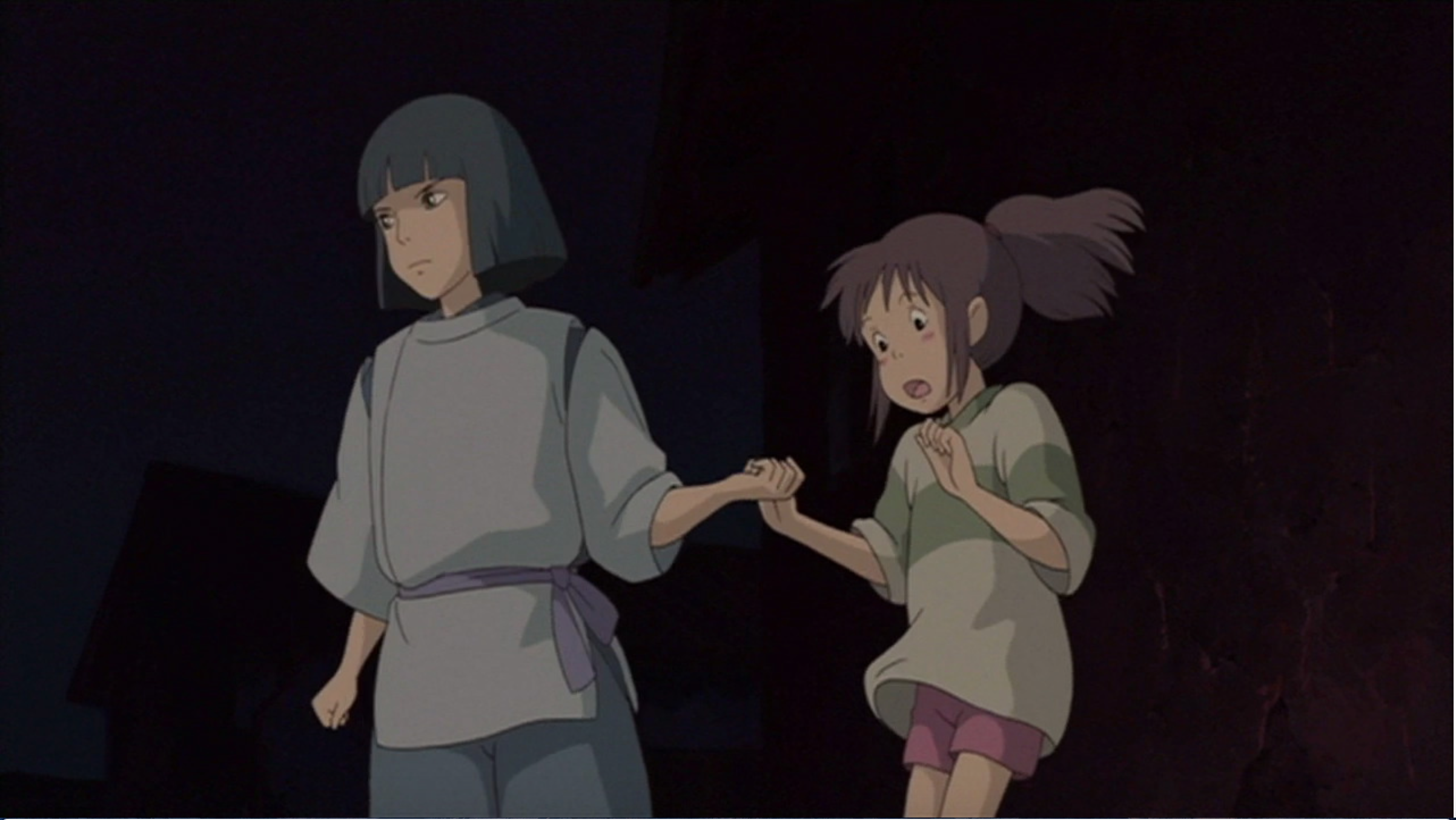 Haku Helps Chihiro To Get Up On Her Feet And About To Run For Their Lives Spirited Away Studio Ghibli Animation