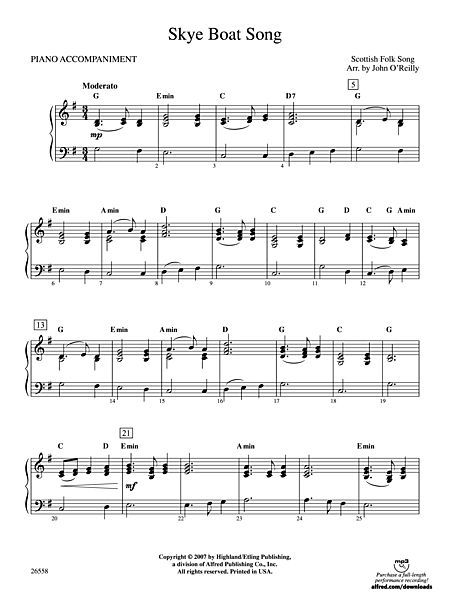 Skye Boat Song Piano Accompaniment With Images Sheet Music