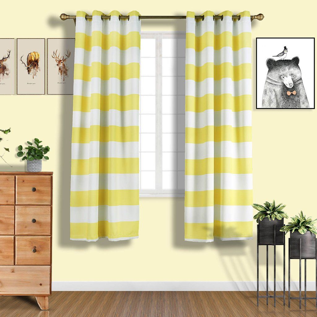 Cabana Stripe Curtains 2 Packs White Yellow Blackout Curtain
