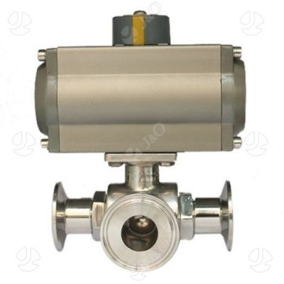 Hygienic 3 Way Ball Valve Clamp Ends with Actuator