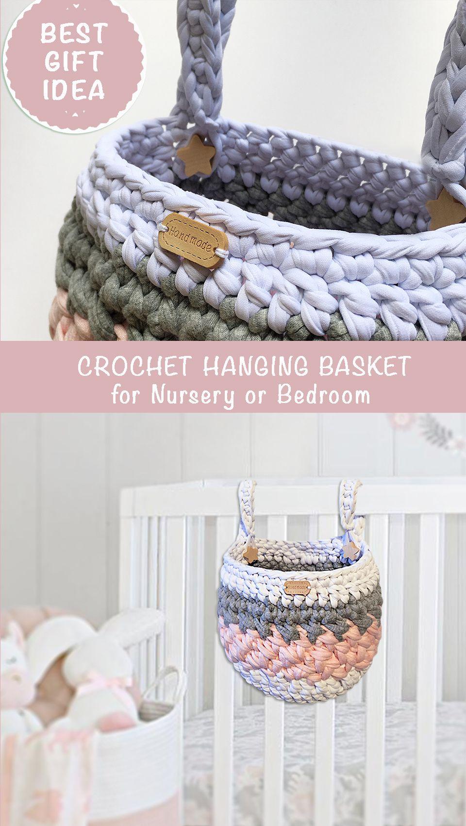 Handmade knitted hanging basket for a child bedroom