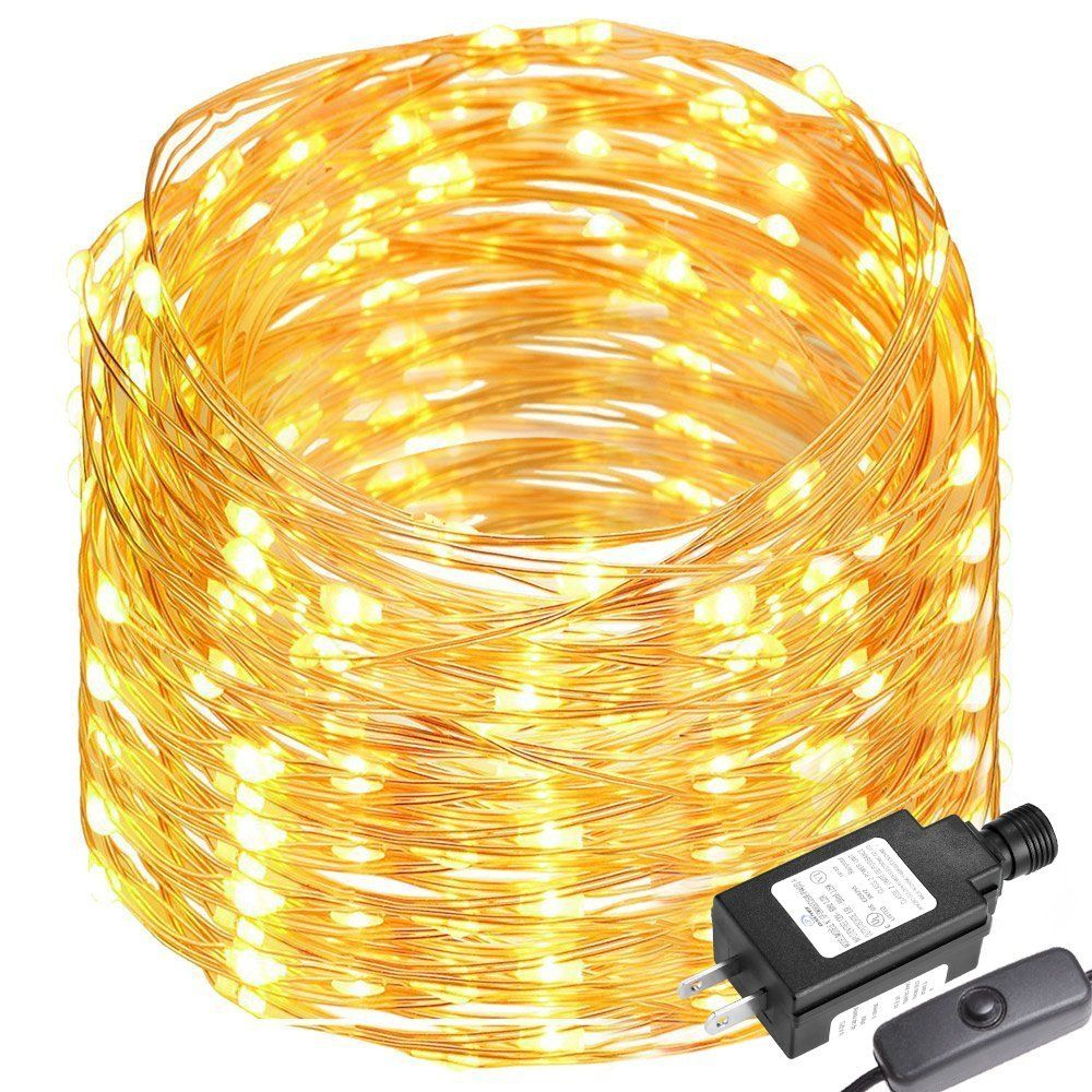 Le 65ft Led String Lights 200 Copper Wire Flexible Fairy Warm White Indoor And Outdoor Starry For Garden Patio