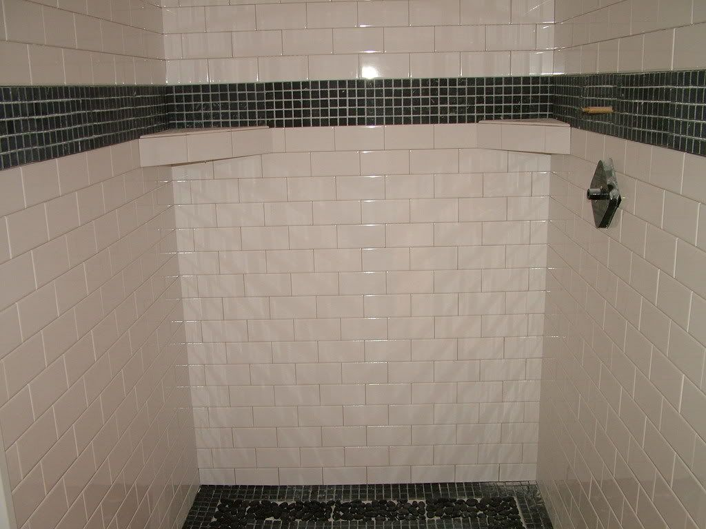 Biscuit subway wall tile bathroom pinterest wall tiles subway bathroom great small black and white kitchen decoration using white brick daltile subway tile shower wall including black pebble tile shower flooring dailygadgetfo Gallery