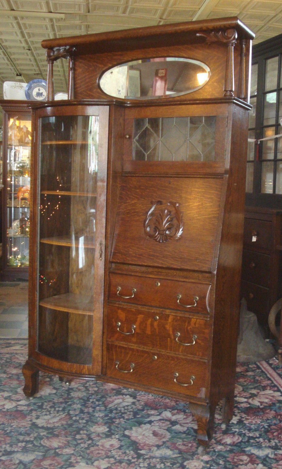 Antique Victorian 1890's Larkin Tiger Oak Side by Side Secretary Desk  Bookcase - Antique Victorian 1890's Larkin Tiger Oak Side By Side Secretary